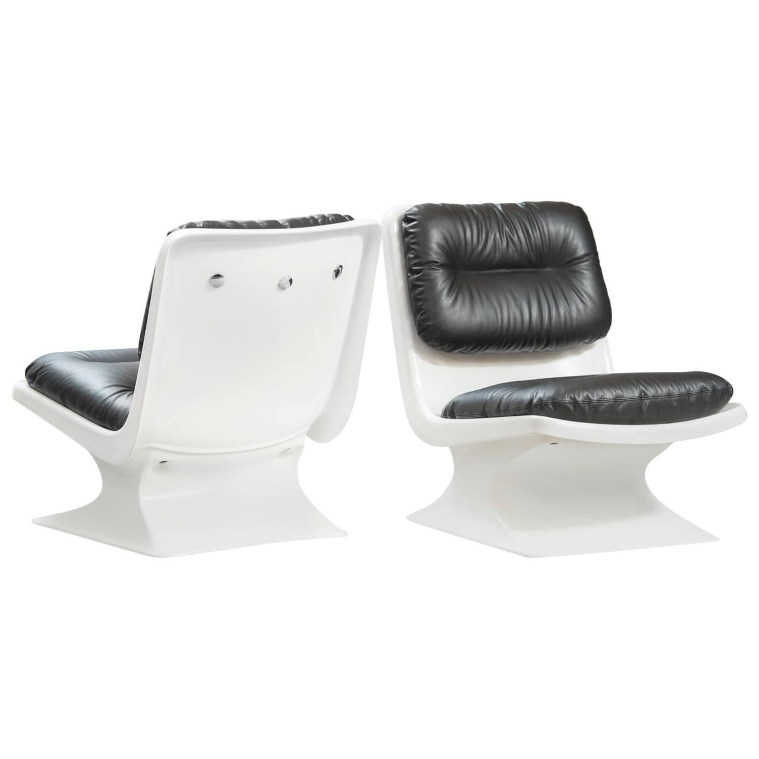 Albert Jacob plastic and leather Chairs for Grosfillex