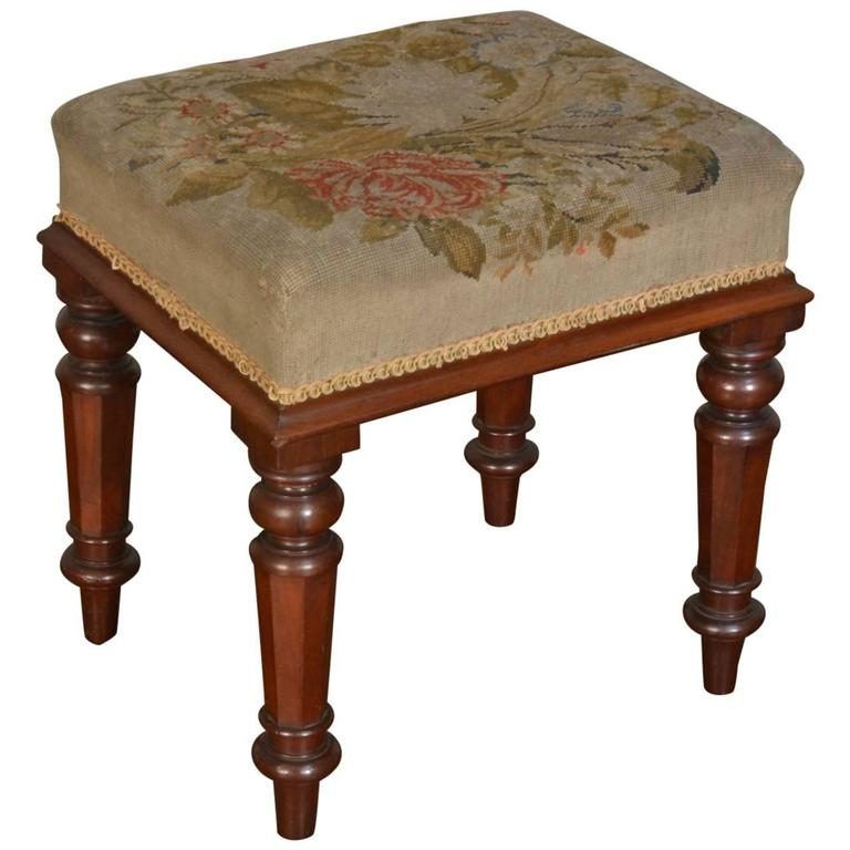 William IV Mahogany Needlepoint Stool