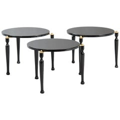 Set of Three Stackable Italian black lacquered Side Tables