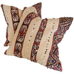 CustomPair of Moroccan Pillows Cut from a Hand-Loomed Wool Rug,  Atlas Mountains