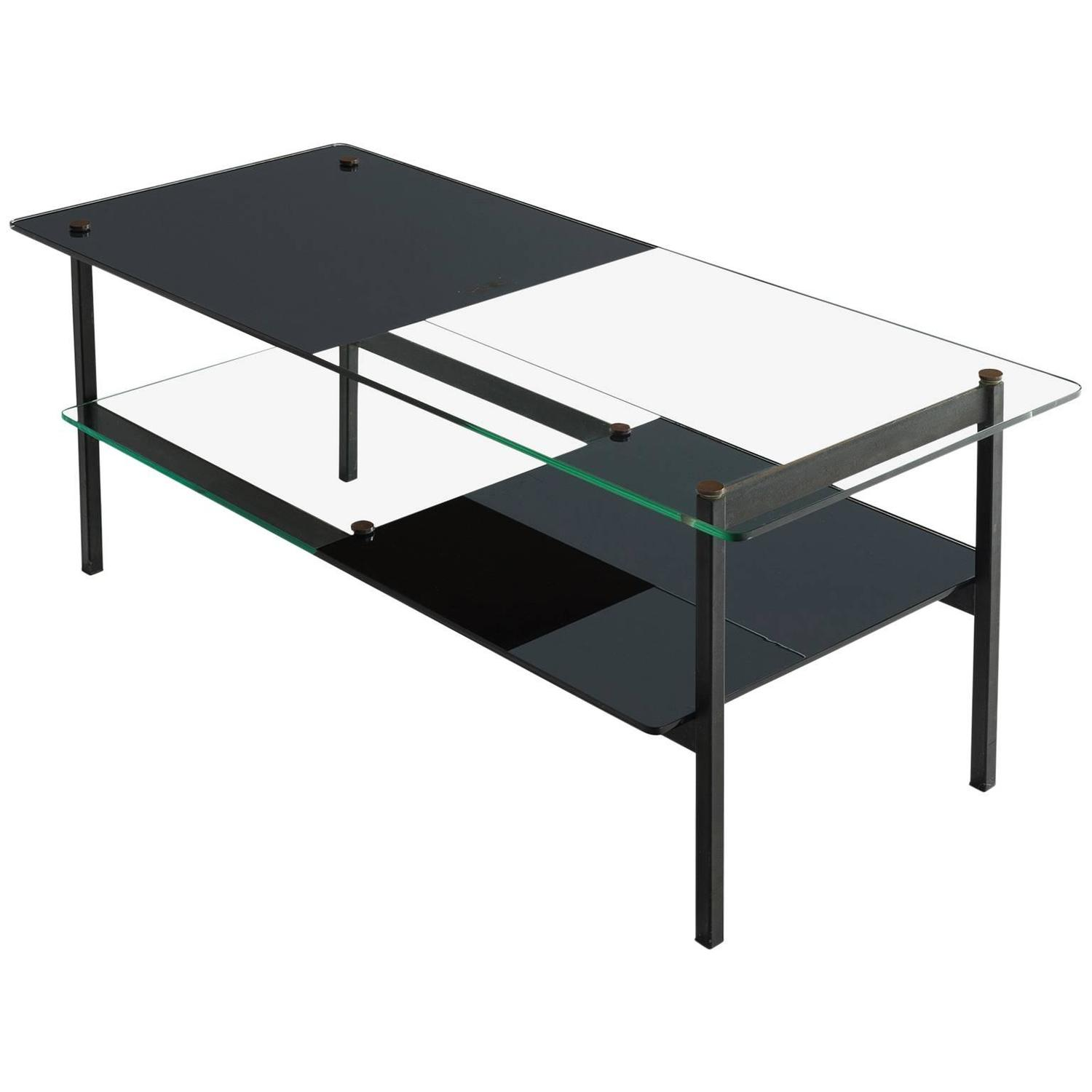 Mid Century Square Steel Coffee Table With Black Marble: Small Mid-Century Coffee Table In Glass And Metal For Sale