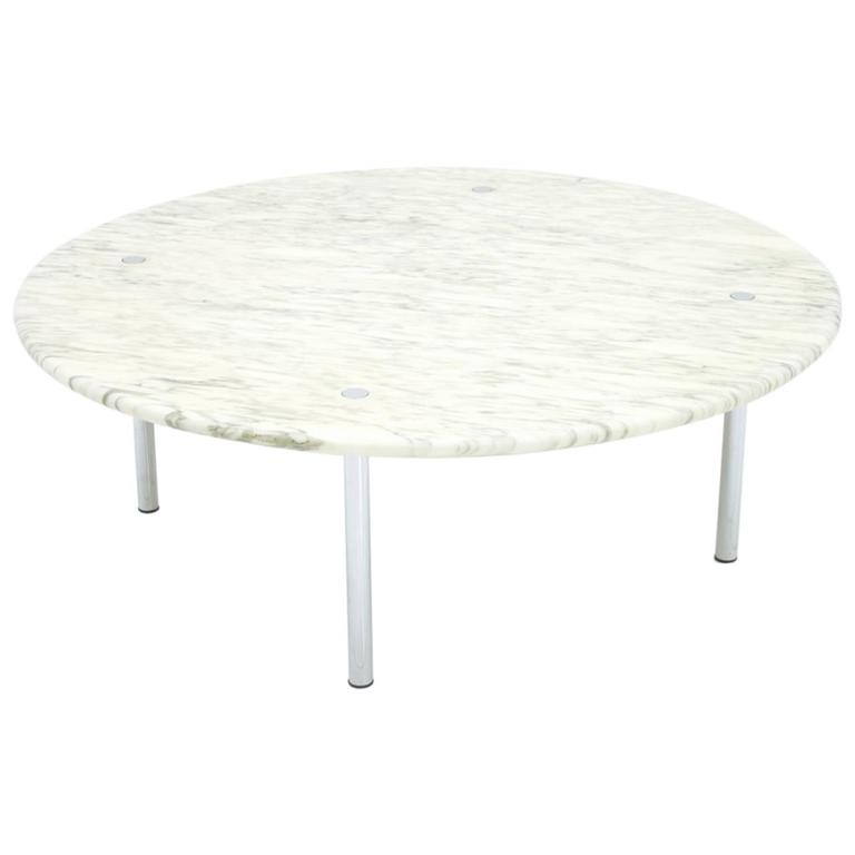 Carrara Marble And Chrome Round Coffee Table By Erwine And Estelle Laverne 1954 For Sale At 1stdibs