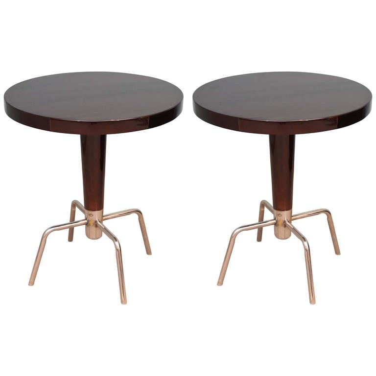 French Round Art Deco Side Tables