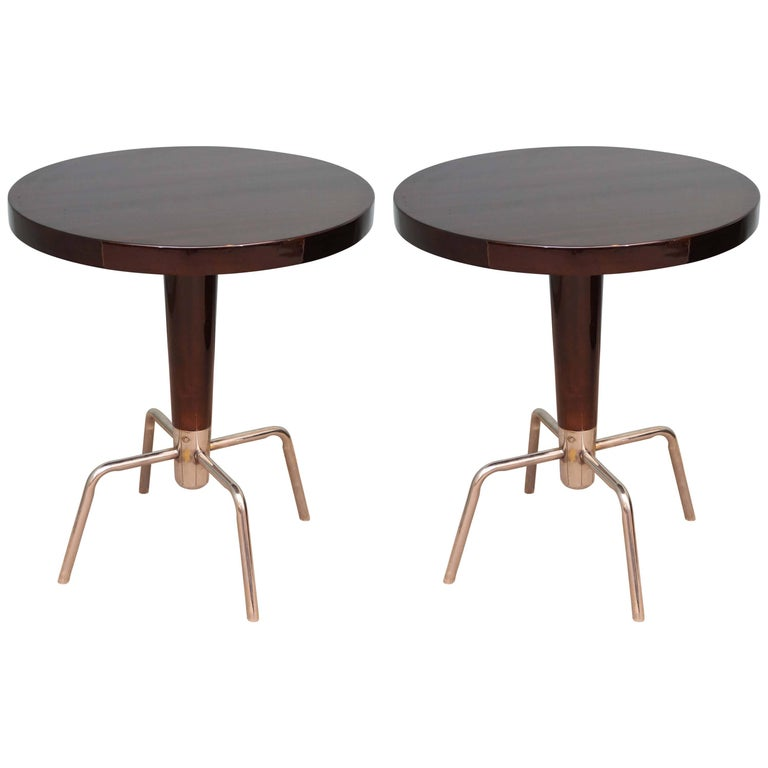 French Round Art Deco Side Table