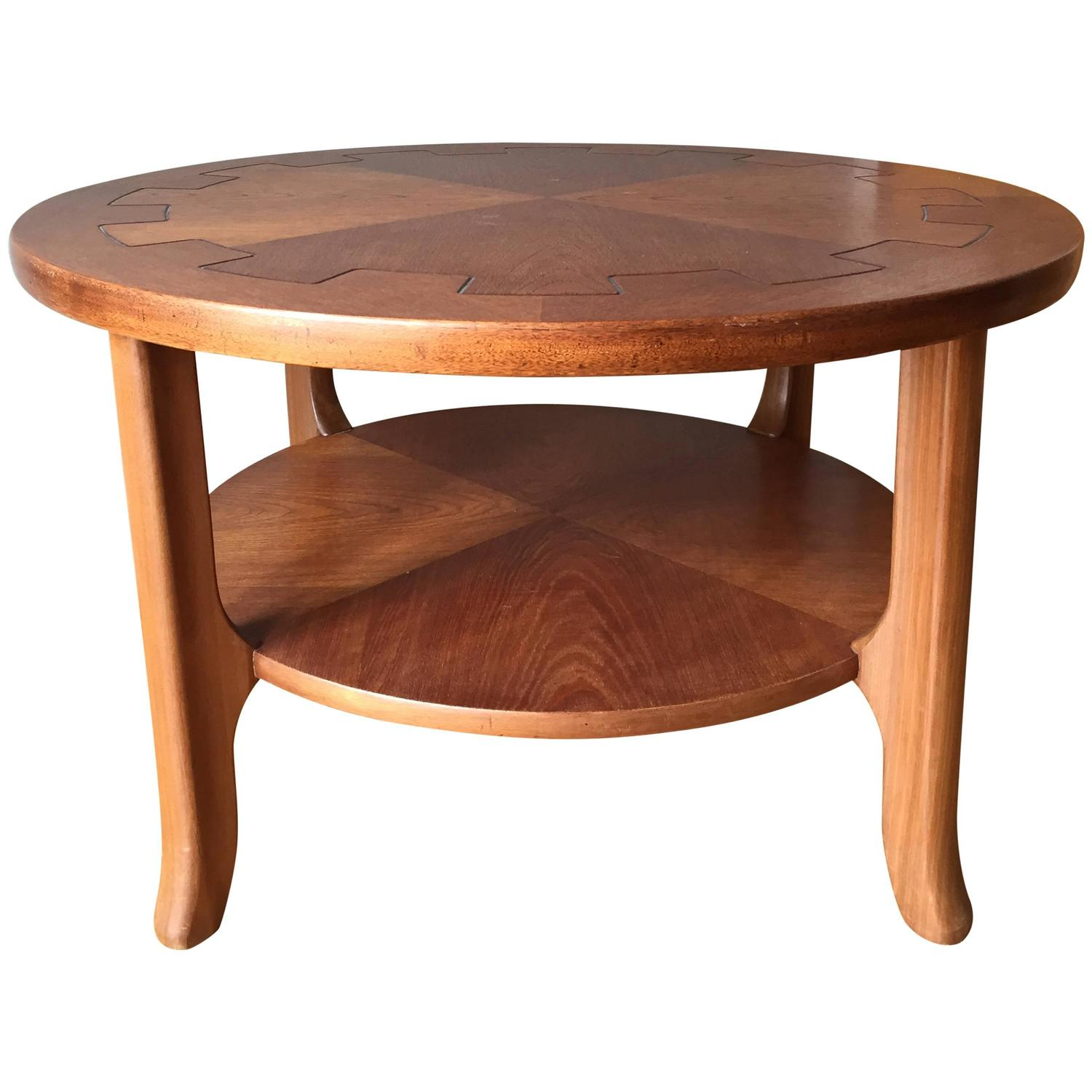 Amazing photo of  Circular Oak and Walnut Two Tiered Coffee Table For Sale at 1stdibs with #BE5F0D color and 1500x1500 pixels