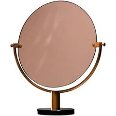 Copper Console or Table Mirror on Round Glass Foot, Germany, 1920s-1930s