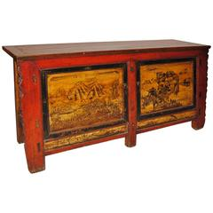19th Century Chinese Cabinet w/ All Original Folk Motif Designs and Lacquer