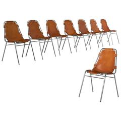 Set of Eight 'Les Arcs' Chairs in Cognac Leather
