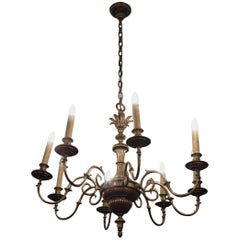 1930s Eight-Arm Bronze Chandelier with Leaf Accents