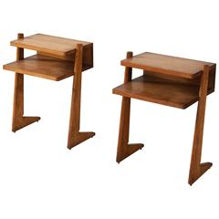 Pair of French Nightstands in Solid Oak