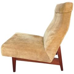 Jens Risom Slipper Chair in Suede and Walnut