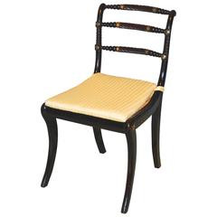 Regency Period Ebonised Trafalgar Chair with a Triple Rope-Back