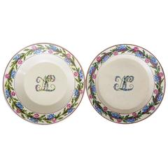 Pair of Neoclassical Floral Banded Creamware Plates