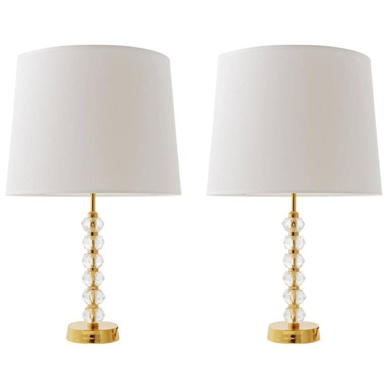 Pair of bakalowits table lamps gilt brass and crystal glass austria 1960s for