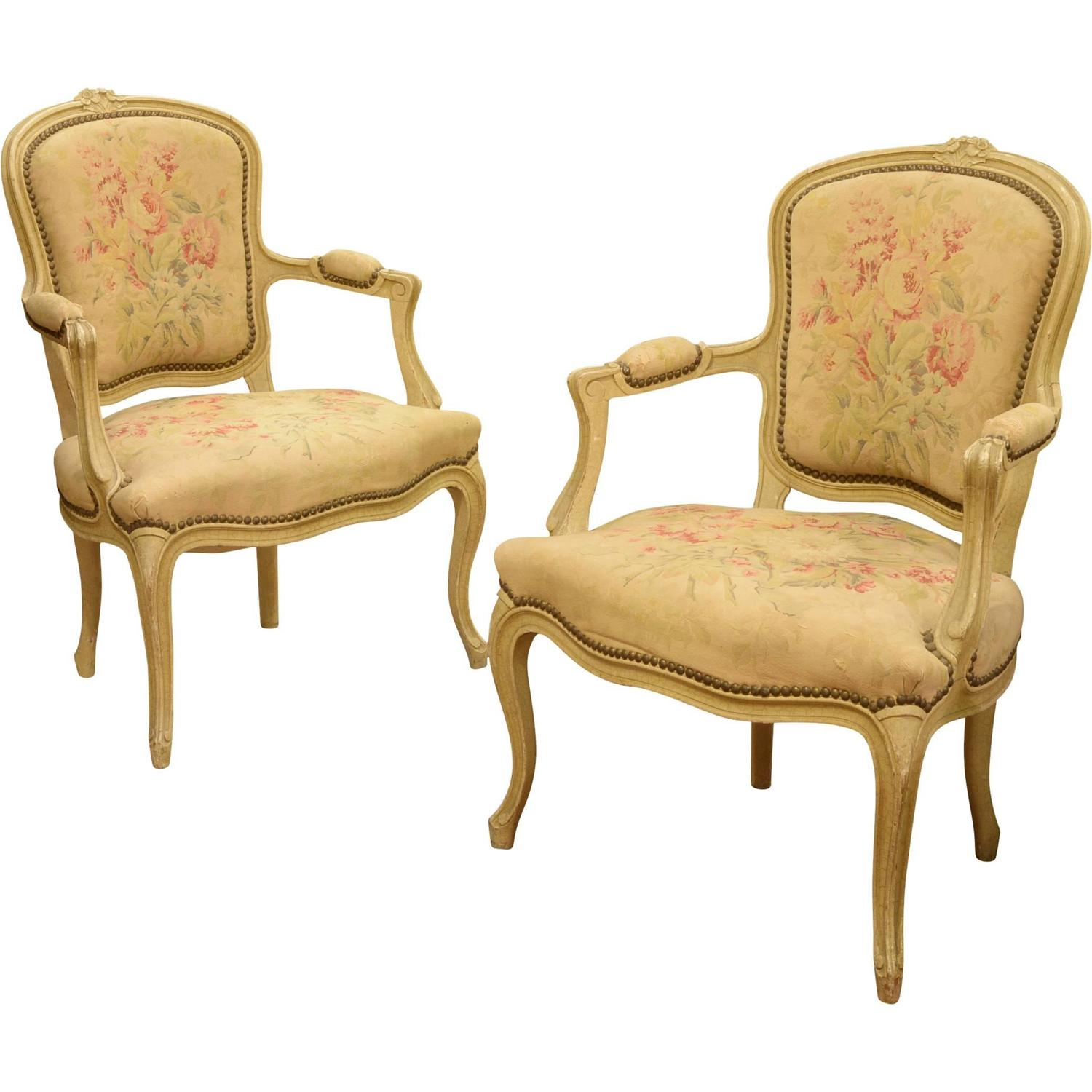 Pair of French Louis XV Style Fauteille Chairs at 1stdibs