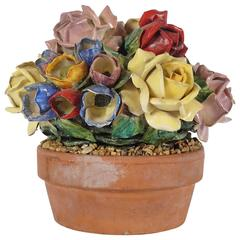 Glazed Ceramic and Terra Cotta Floral Arrangment from the Estate of Bunny Mellon