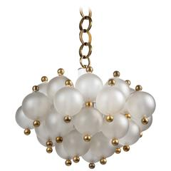 Seguso Glass and Brass Pendant, Circa 1960