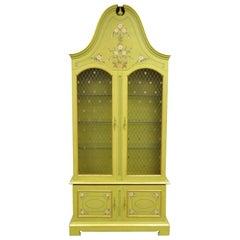 John Widdicomb Green Bonnet Top French Hollywood Regency Bookcase Cabinet Curio