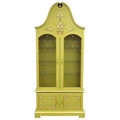 1960s John Widdicomb Green Bonnet Top French Regency Style Display Cabinet Curio