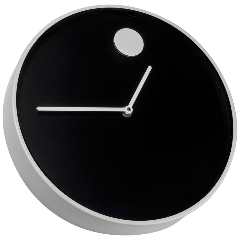 Wall Clock by George Horwitt for Howard Miller, Black, White Frame, 1970s 1
