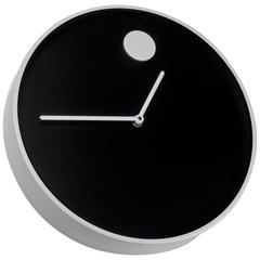 Wall Clock by George Horwitt for Howard Miller, Black, White, Metal, Glass, 1970