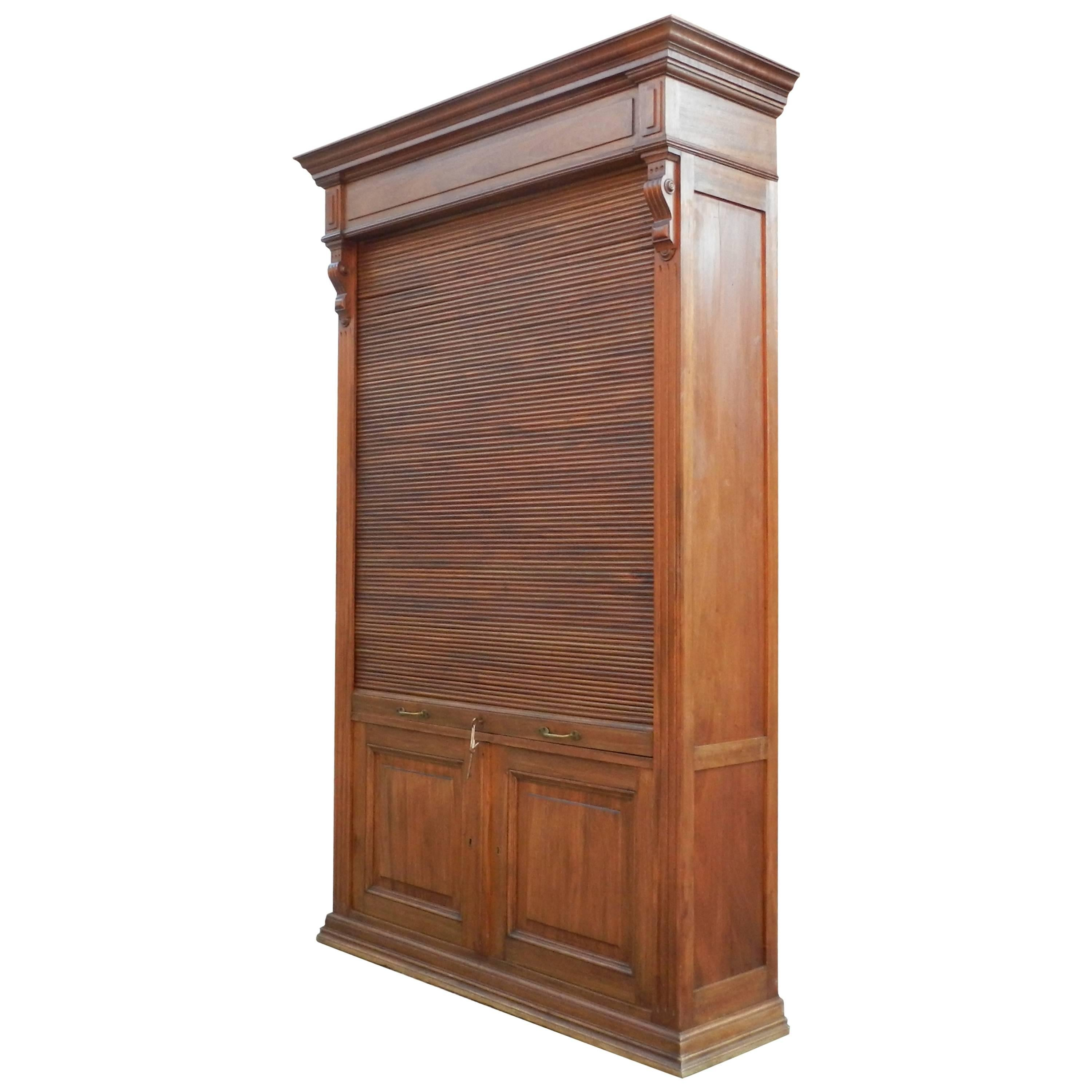 Louvered-Door Cabinet in Mahogany and Solid Oak, circa 1900