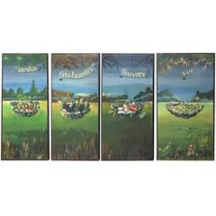 Set of Four Large-Scale Vintage Four Seasons Oil Paintings on Board