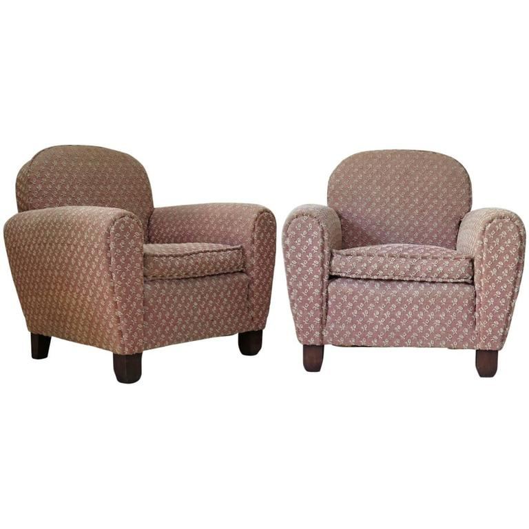 Pair of Art Deco Upholstered Club Chairs, France, circa 1930s For Sale