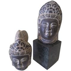 An Asian Pair of Buddha Stone Heads, Mixed Pair, Unmounted