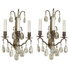 Vintage Pair of Bronze and Cut Crystal Louis XV Style Three-Light Sconces