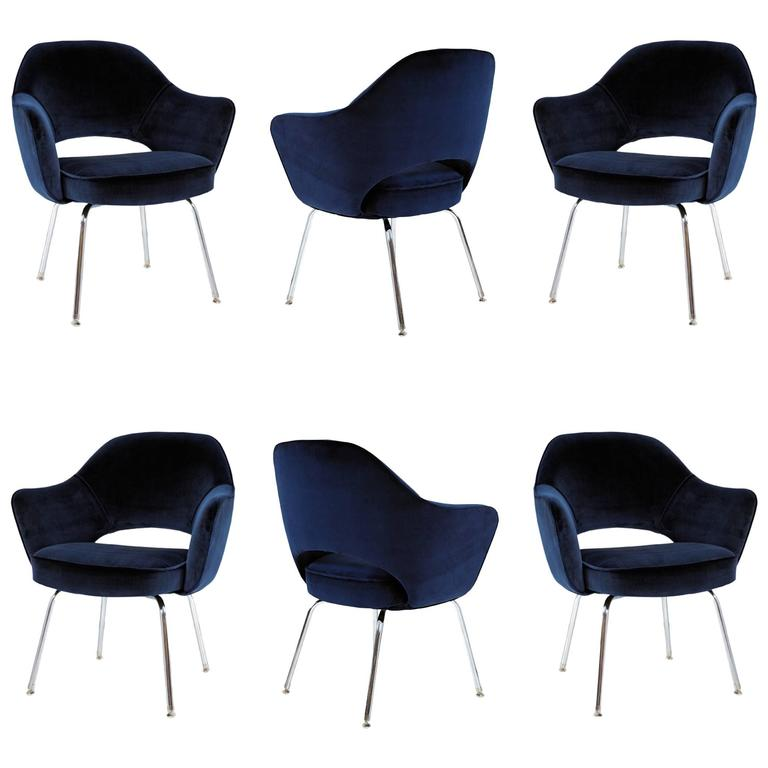 Saarinen for Knoll Executive Arm Chairs in Navy Velvet, Set of Six