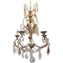 Wonderful Transitional Gilt Rock Crystal 5-Arm Bagues Chandelier Jansen Fixture