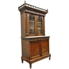 19th Century French Renaissance Walnut Bookcase Sideboard Buffet Hutch Cabinet