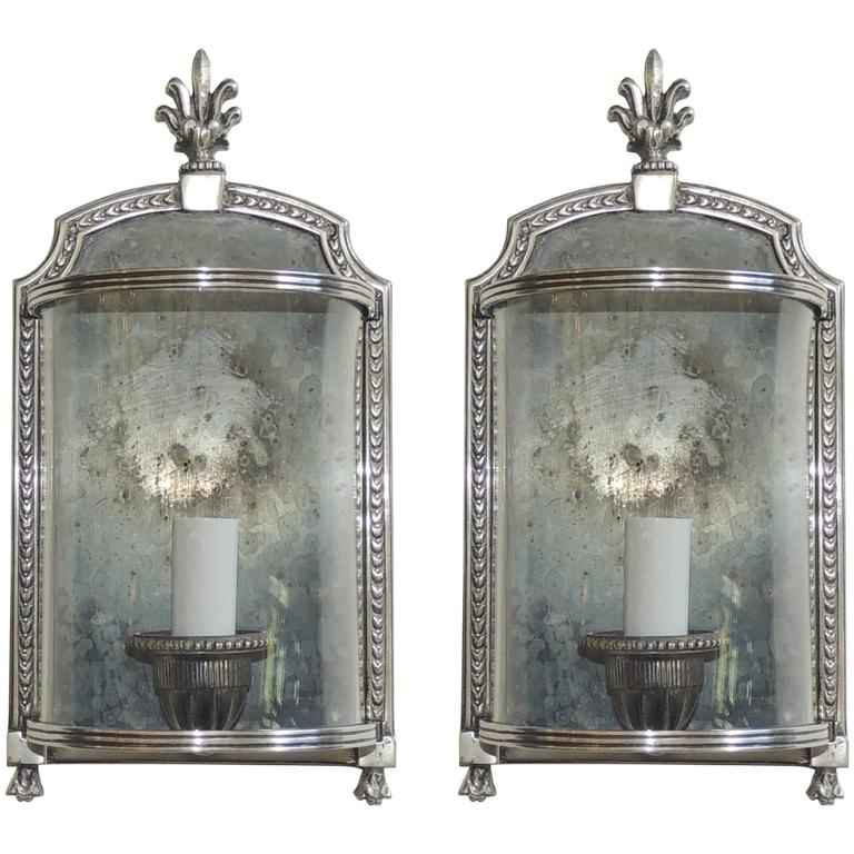 Light Fixtures Rochester Ny: Wonderful Pair Silvered Bronze Nickel Curved Glass E F
