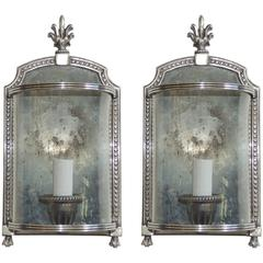 Wonderful Pair Silvered Bronze Nickel Curved Glass E F Caldwell Sconces Fixtures