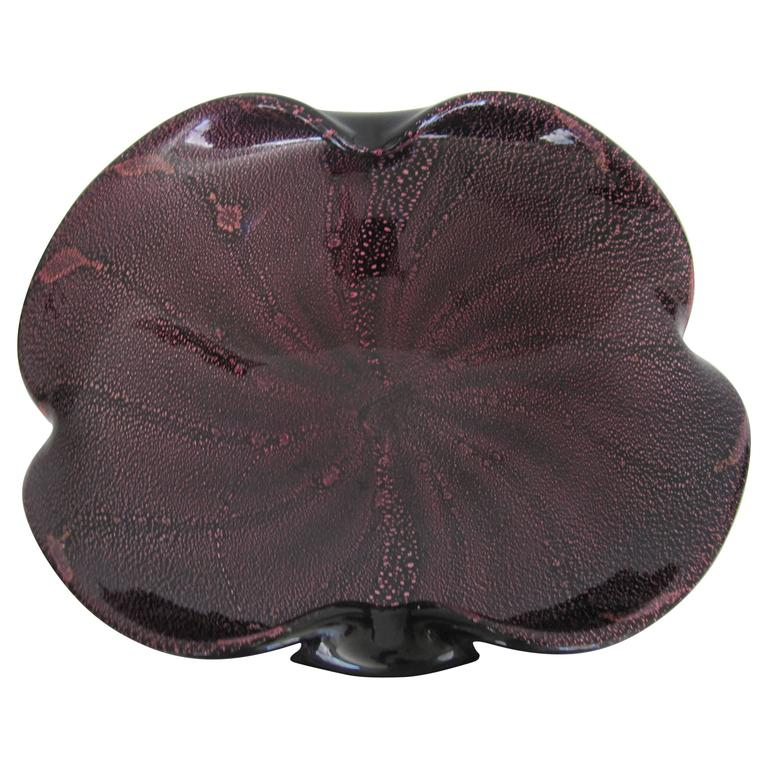 Midcentury Italian Murano Black and Purple Art Glass Bowl For Sale