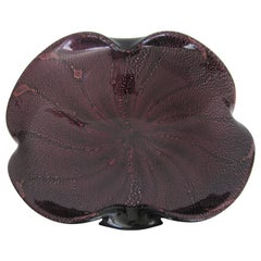 Italian Murano Purple and Black Art Glass Bowl