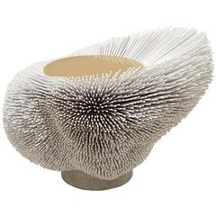 'Sea Anemone,' White, a Beech Side Table with an Emotional Presence