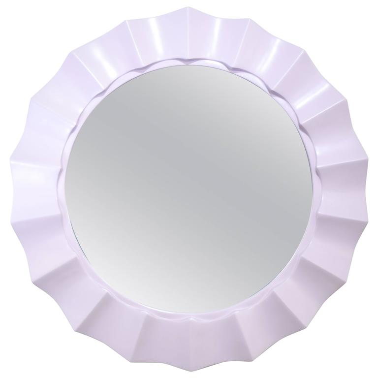 Lilac 1970's Glam Lacquered Scalloped Mirror For Sale
