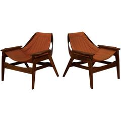 Mid Century Walnut Sling Chairs by Leathercrafter