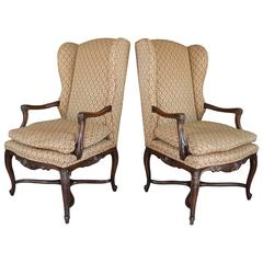 Nice Vintage Pair of Provincial Louis XV Style Walnut Wing Chairs