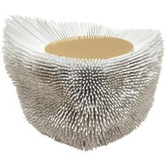 'Sea Anemone – White', a Beech Side Table with Organic Waves by Pia Maria Raeder