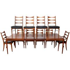 Lane Walnut Dining Room Table and Ten Chairs