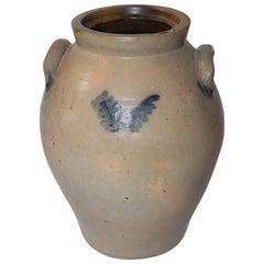 19th Century Original Blue Salt Glaze Decorated Stoneware Jar