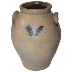 19th Century Original Blue Salt Glaze Decorated Stoneware Jar