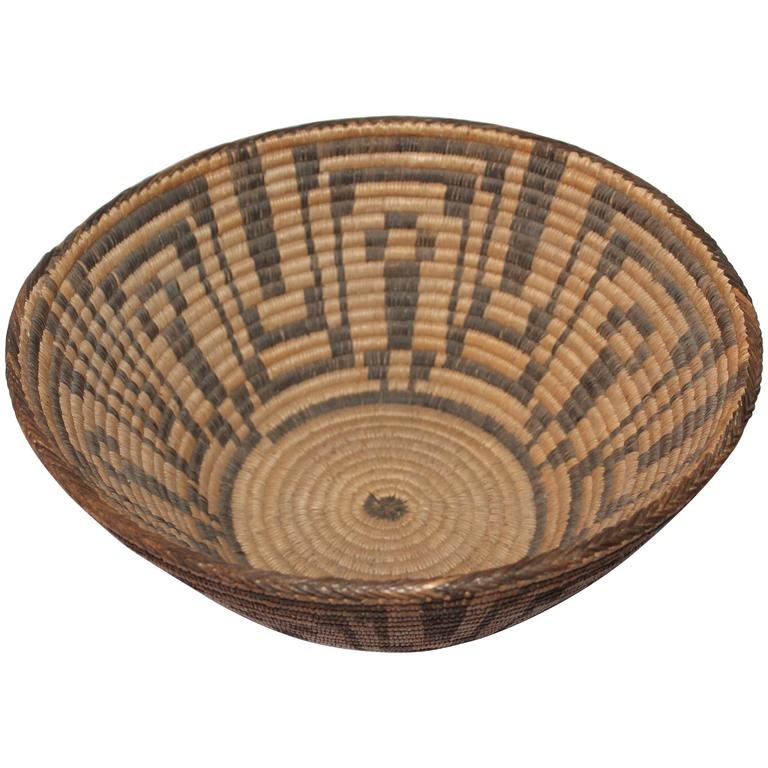 Large 19th Century Geometric Pima Indian Basket