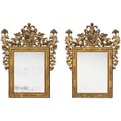 Fine and Important Pair of Polychrome Decorated Giltwood Mirrors