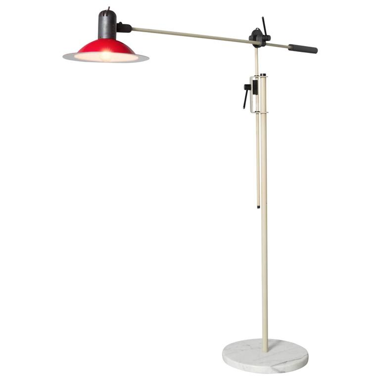 Stilnovo Floor Lamp with Red Shade and Marble Base