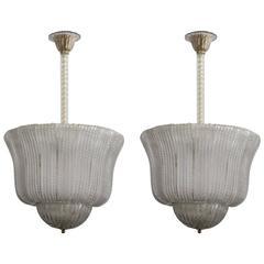 Elegant Pair of Murano Beaded Glass Lanterns