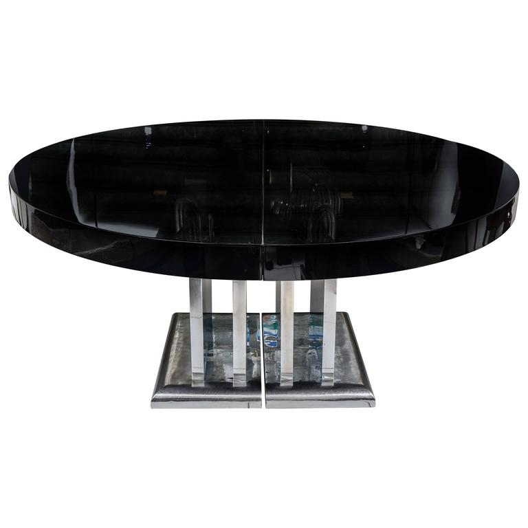 Large and spectacular dining room table black lacquered for Large black dining room table